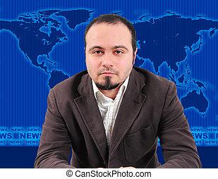 Male news presenter in studio - Male news presenter in blue...