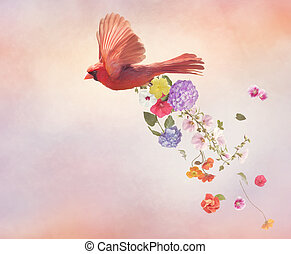 Northern Cardinal Flying with flowers