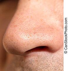 male nose. close