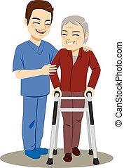 Male Nurse Helping Senior Man