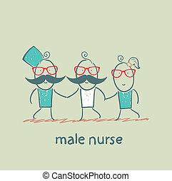 male nurse hold ill patient