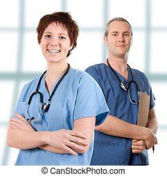 Male nurse - male doctor happy on white isolated background