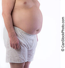 Male Obesity Belly - Overweight man can not fit into...