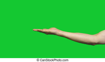 Male offer gesture on green background - Footage of male...