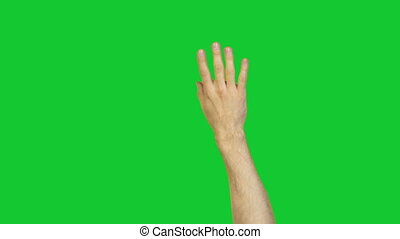 Male ok gesture on green background - Footage of male hands...