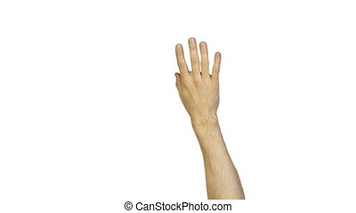 Male ok gesture on white background - Footage of male hands...