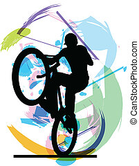 Male on a bicycle. Vector