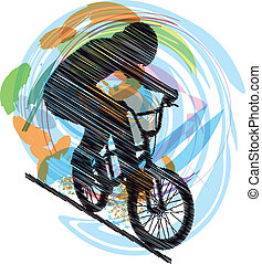 Male on a bicycle. Vector illustrat
