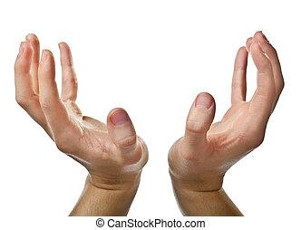 Male open hands