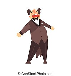 Male opera singer character cartoon vector Illustration
