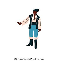 Male Opera Singer Performing On Stage, African Amercian Man Giving Representation Vector Illustration