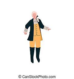 Male Opera Singer Performing On Stage, Man Giving Representation in Ancient Suit and Wig Vector Illustration