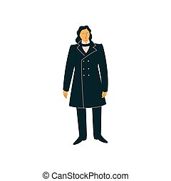 Male Opera Singer Performing On Stage, Man Giving Representation Wearing Retro Black Suit Vector Illustration