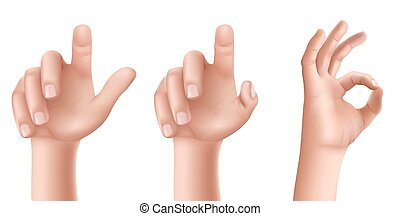 Male or female hands with raised index finger and gesture OK...