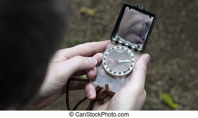 Male Outdoors With Navigation Compass