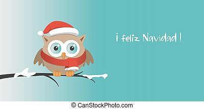 Male owl with Santa Claus hat on a branch in a snowy day.