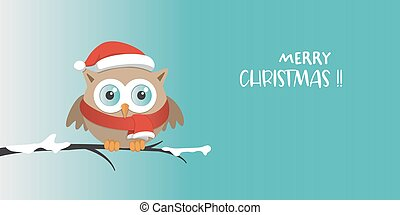 Male owl with Santa Claus hat on a branch in a snowy day