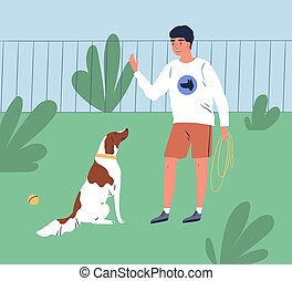 Male owner training his dog to command sit. Trainer teach obedient purebred spaniel in park. Cheerful man or cynologist with puppy on the playground. Flat vector cartoon illustration of trained pet