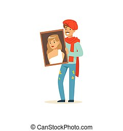 Male painter artist character with mustache wearing red beret holding portrait of beautiful woman vector Illustration