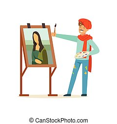 Male painter artist character with mustache wearing red beret painting female portrait with brush vector Illustration