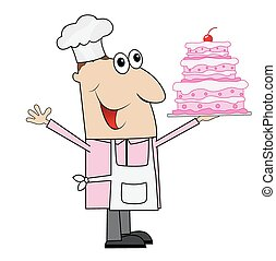 male pastry chef with cake in hand