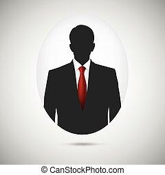 Male person silhouette. Profile picture whith red tie. -...