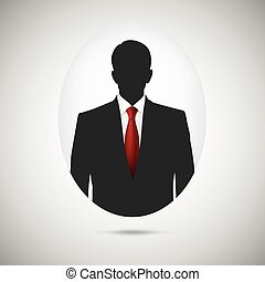 Male person silhouette. Profile picture whith red tie. -...