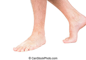 Male person walking barefooted