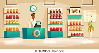Male pharmacist at counter in pharmacy