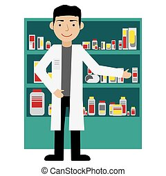 Male pharmacist in a pharmacy opposite the shelves with ...