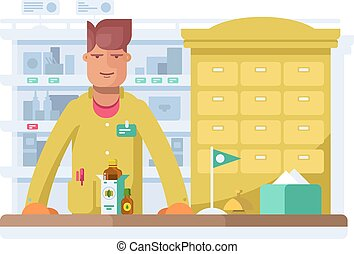 Male pharmacist standing in pharmacy drugstore.