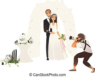 Male photographer taking pictures of wedding couple stand hugging cartoon style