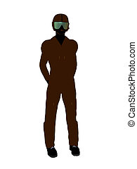 Male Pilot Illustration Silhouette - Male pilot silhouette...