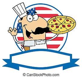 Male Pizzeria Chef Holding A Pizza