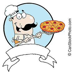 Male Pizzeria Chef Holding A Pizza On A Scooper Above A ...