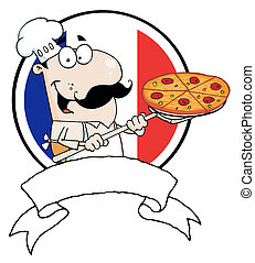 Male Pizzeria Chef Holding A Pizza