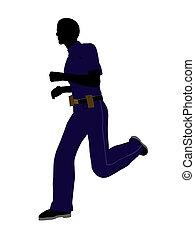 Male Police Officer Art Illustration Silhouette - Male...