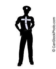 Male Police Officer Illustration Silhouette - Male police...