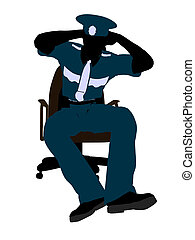 Male Police Officer Sitting In A Chair Illustration Silhouette