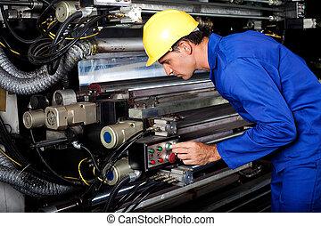 printer running modern industrial printing machine