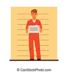 Male prisoner cartoon character near wall, flat vector illustration isolated.