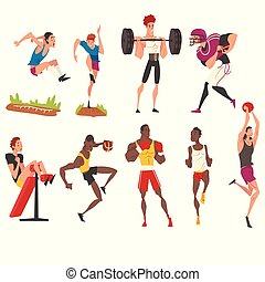 Male Professional Athletes Characters in Sportswear Doing Various Kind of Sports Set, Active Sport Lifestyle Vector Illustration Vector Illustration