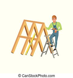 Male professional carpenter building a wooden construction with drill vector Illustration on a white background