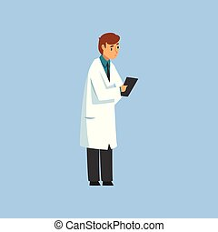 Male Professional Doctor Character with Clipboard, Worker of...
