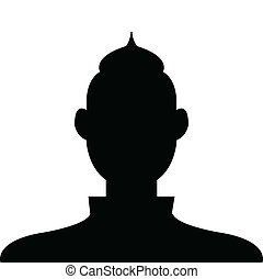 Male profile avatar icon black on white background use for socia