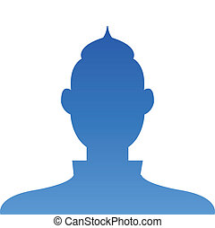 Male profile avatar icon blue on white background use for social