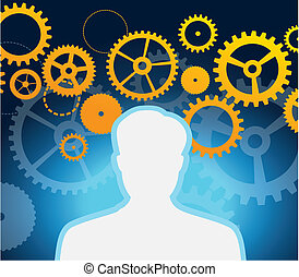 male profile with gears and cogs  - vector illustration