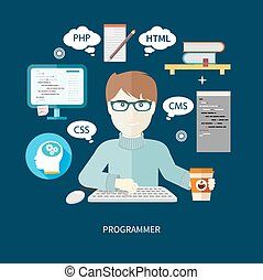 Professional concept with male computer programmer working on computer on his workplace with paper cup of coffee