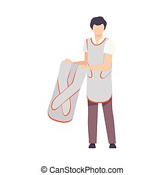 Male Radiologist Doctor Character in Lead Protection Apron Vector illustration