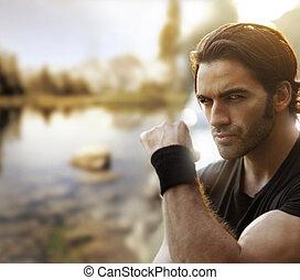Male rebel outside - Outdoor portrait of a great looking...